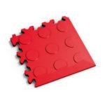 PVC hoek rosso red coins MeneerTegel PVC en rubber vloer tegels